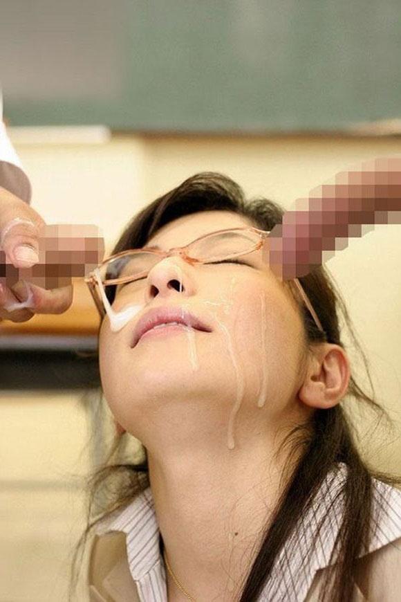 女教師への顔射!