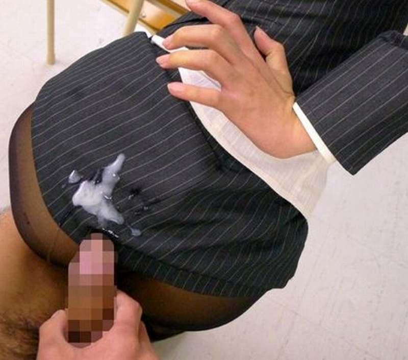 タイトスカートにぶっかけ!
